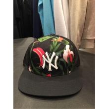 代购 韩国MLB专柜正品新款黑色平板网帽印花图案纯棉防晒帽均码