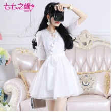 七七之缘2016夏装新款女装韩版 白色网纱蕾丝V领灯笼袖雪纺连衣裙