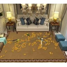 新中式家用地毯客厅茶几卧室床边书房家装进门垫代发绒面印花地垫