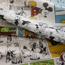 韩国进口高档纯棉布料英伦报纸米奇儿童服装床单被套手工面料