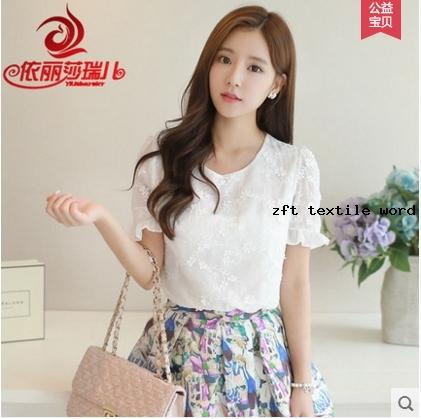 雪纺衫短袖2016春装新款白色上衣女夏季韩版欧根纱小清新蕾丝打底