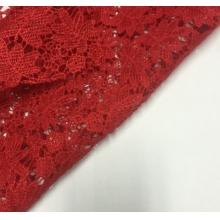 红色花型水溶绣花面料