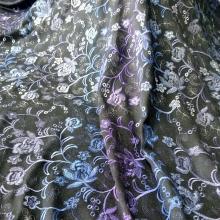 春秋粗黑花呢印花服装面料 时尚绣织粗花呢渐变花型系列