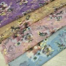 春夏女生网布绣花印花面料 精致的绣花和独特的花型结合产生不一样的美