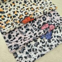 春夏时尚女装面料 欧根纱格子提花面料  豹纹和蝴蝶的完美结合呈现出不一样的效果