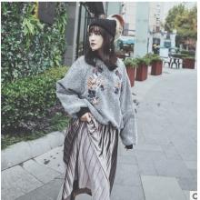 韩国冬季新款条纹毛呢重工刺绣花内里加绒厚实保暖套头卫衣