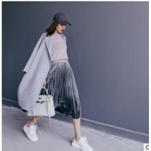 丢丢韩国2016秋冬新款女装高腰显瘦丝绒裙褶皱半身裙百褶长