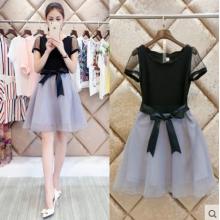 连衣裙夏季新款女装韩版收腰修身短袖裙子 OL大码中长款a字蓬蓬裙