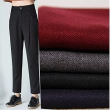 货供应时尚TR布斜纹涤纶面料休闲西装裤子服装布料