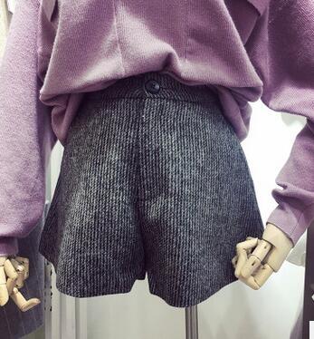 蝇蝇短裤女秋冬款韩版宽松毛呢加厚高腰阔腿短裤女外穿百搭