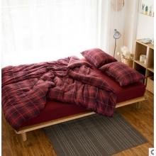 床上四件套床单被套格纹多色