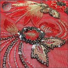 亚洲热销婚礼礼服大红色串珠亮片绣花面料