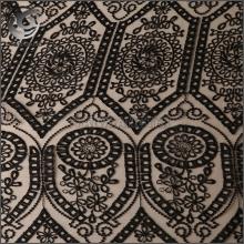 高品质黑色网布蕾丝绣花面料