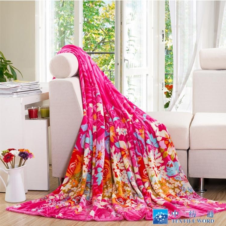 100%涤纶批发豪华柔软的印花法兰绒毯子