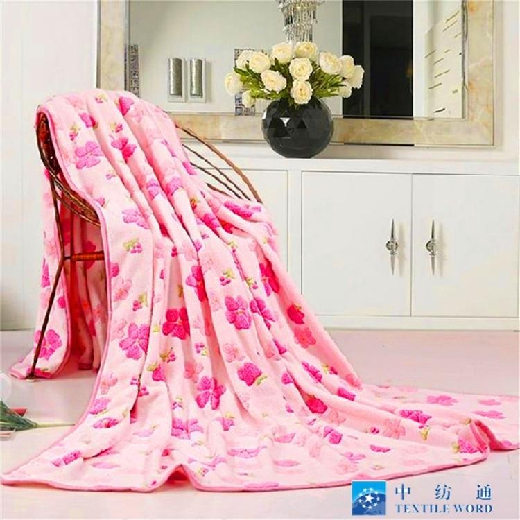 粉红色的花朵印花超细纤维批发法兰绒羊毛织物