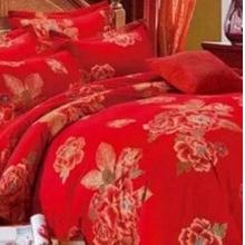 婚庆大红全棉喷气加密澳绒床品面料新款百子图加厚磨毛布料