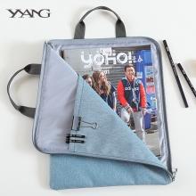 韩国简约拉链多层文件手提袋a4办公资料收纳包iPad牛津帆布公文包