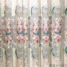 定制 简约欧式窗帘成品高档雪尼尔提花绣花布料客厅阳台落地窗纱帘