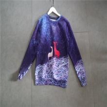 紫色印花长袖套头休闲上衣