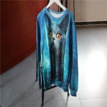 蓝色印花长袖休闲上衣2