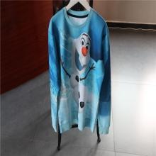蓝色印花长袖休闲上衣3